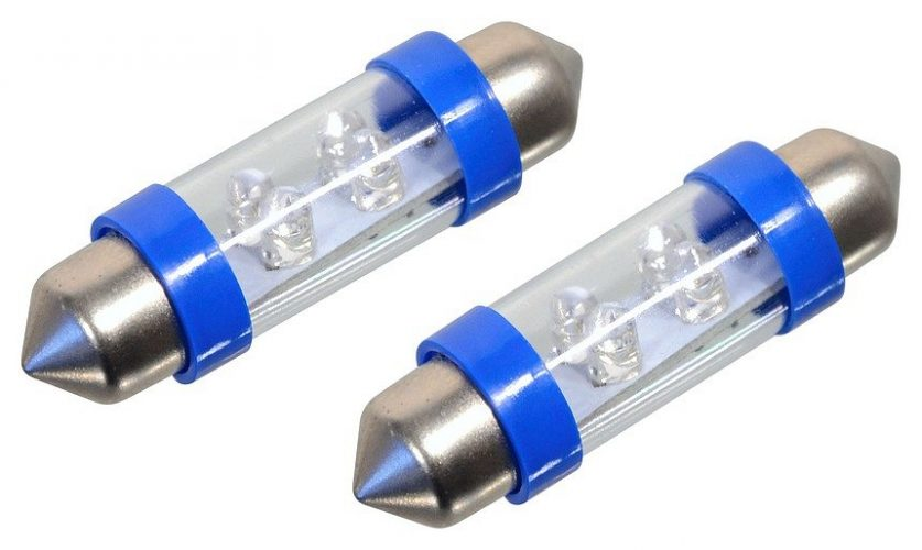 Žárovka 4LED 12V  suf. SV8.5 38mm modrá  2ks