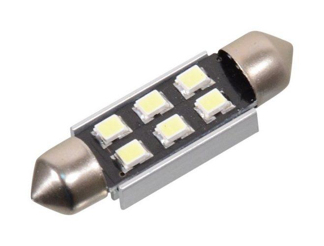 Žárovka 6 SMD LED 12V suf. SV8.5 38mm s rezistorem CAN-BUS bílá