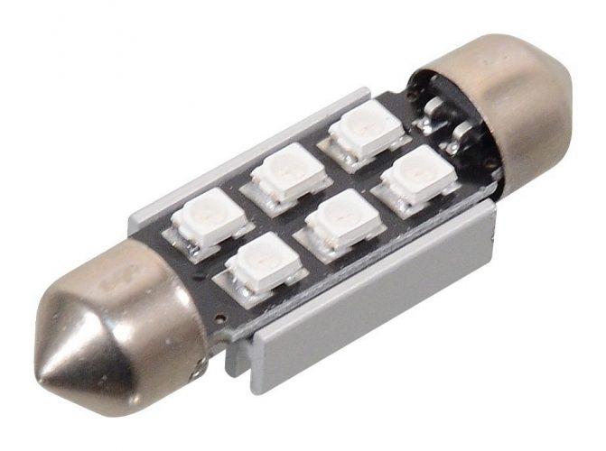 Žárovka 6 SMD LED 12V suf. SV8.5 38mm s rezistorem CAN-BUS modrá