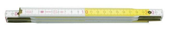 Metr skládací 1 m dřevěný bílo -  žlutý