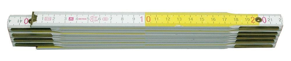 Metr skládací 2 m dřevěný bílo -  žlutý